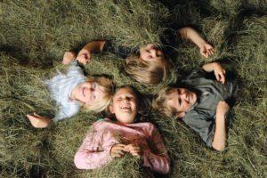 Une nuit en famille dans le foin de la grange, dans la forêt de mélèzes
